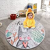 GWELL Kinder Aufräumsack Cartoon Spielmatte Spieldecke Spielzeug Speicher Tasche Kinderteppich Sterne Aufbewahrungsbeutel für Kinderzimmer 145cm Hase