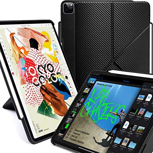 KHOMO iPad Case Pro 12.9 Hülle 4. Generation 2020 mit Stifthalter – Dual Origami Serie – horizontaler und vertikaler Ständer – unterstützt Apple Pen Aufladen – Kohlefaser (KHO-1685)