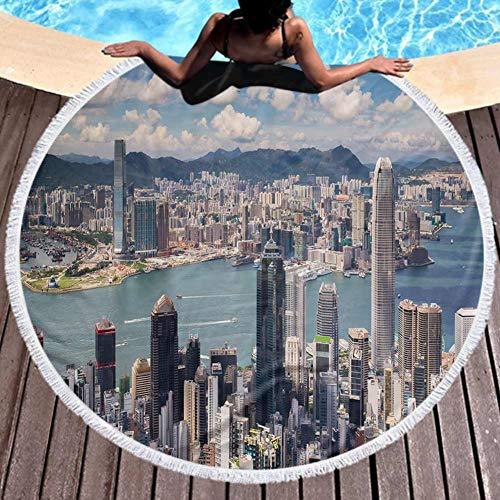 Round Microfiber Beach Towels View Point Hongkong City Kowloon City from The Top Victoria Peak Sports, Travels, Quick Drying and Super Absorbent Technology 59 Inch Diameter