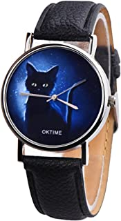 COOKI Women Watches On Sale Clearance Prime Ladies Fashion Mysterious Black Cat Wrist Quartz Watches with Leather Band Elegant Casual Analog Classic Business Watches for Women
