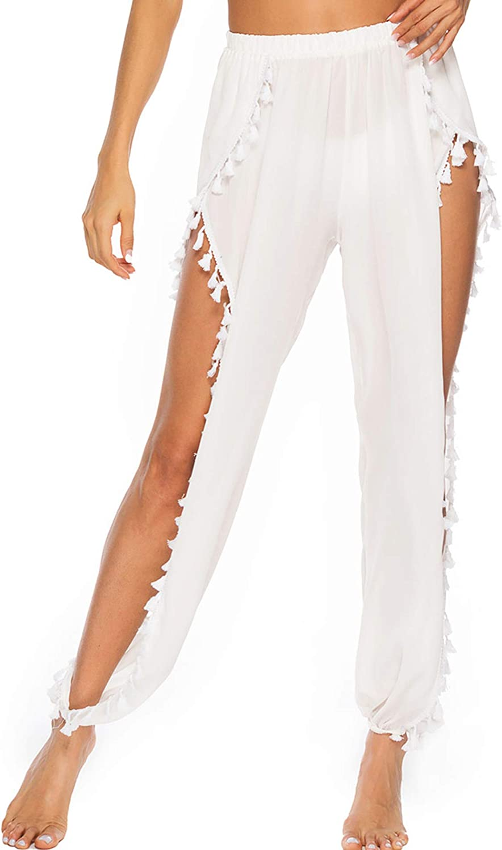 Women's Sheer Pants Bikini See Through Pants Swimwear Chiffon Swimsuit Pants Beach Cover Up