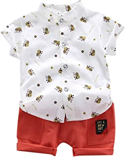 Zrom Baby Boys Clothing Set,0-3 Years Toddler Kids Baby Boy Short Sleeve Stars Pattern Shirt Tops+ Denim Pants Set