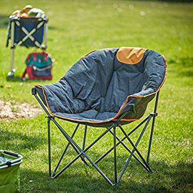 OUTDOOR LIVING SUNTIME Sofa Chair, Oversize Padded Moon Leisure Portable Stable Comfortable Folding Chair for Camping, Hiking, Carry Bag Included