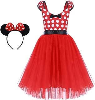 Girls' Polka Dots Princess Party Cosplay Pageant Fancy Costume Tutu Birthday Dress up+Ears Headband
