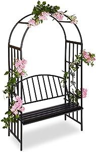 BAKAJI 2830269 Panchina con Arco da Giardino per Piante Rampicanti in Metallo, 2 Posti, Nero, 115 x 50 x 205 cm