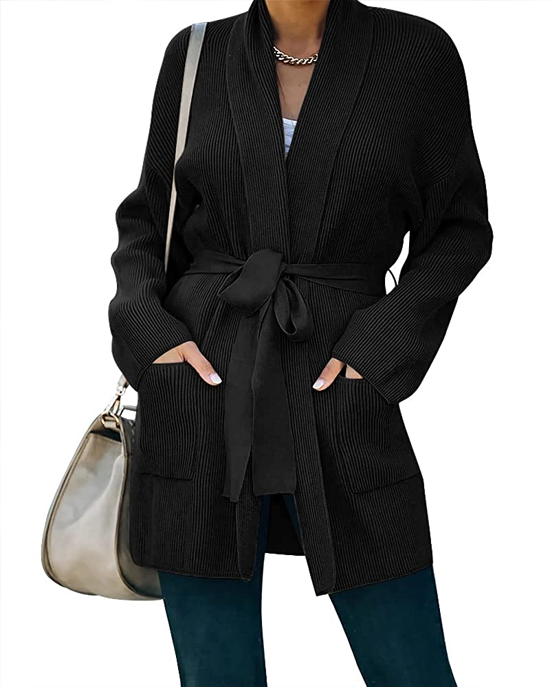 Womens Wrap Tie Waist Cardigan Sweaters Oversized Long Sleeve Open Front Draped Kimono Knitted Cardigans Outwear with Pockets