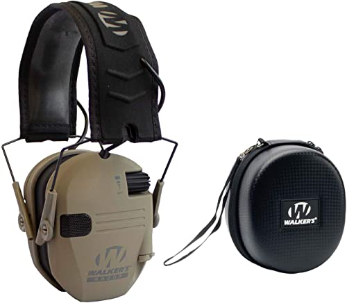 2021 Walker's Razor Slim Shooter Dark Earth Electronic Hunting Folding Hearing Protection Earmuffs 2021 with 23dB NRR and Black outlet online sale Shockproof Carrying Case online