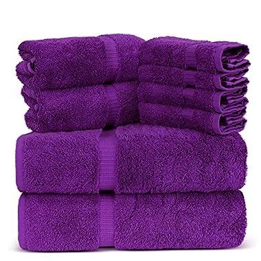 Luxury Spa and Hotel Quality Premium Turkish 8 Pieces Towel Set (2 x Bath Towels, 2 x Hand Towels, 4 x Wash Cloths, Eggplant)