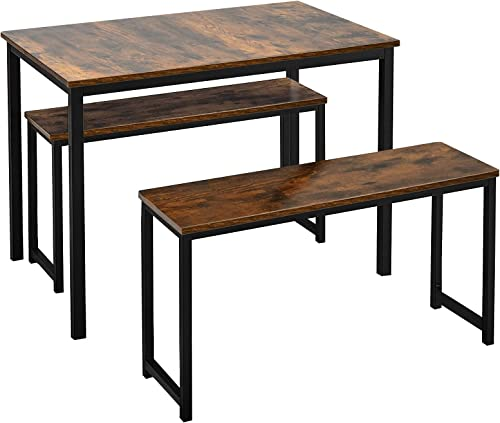 wholesale Giantex 3-Piece Dining Table Set with 2 Benches, Kitchen Bench Table Set Wooden outlet sale Kitchen Table and Chairs for Limited Space outlet online sale (Rustic Brown & Black) outlet sale
