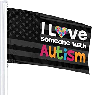 PINGPINGguoqi I Love Someone with Autism - Awareness with American Flag 3' X 5' Ft Outdoor Flags Banner Breeze Flag Garden Flag