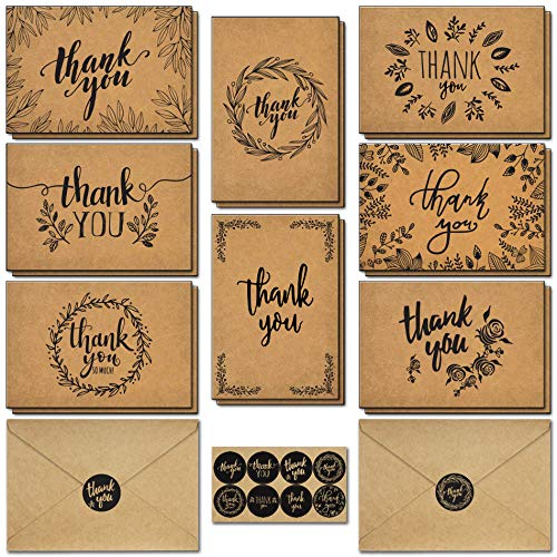 caqpo Thank You Cards With Envelopes - 160 Sets Premium Kraft Thank You Cards Bulk - Thank You Notes with 8 Graceful Designs - Floral Thank You Card for Celebration, Wedding, Baby & Bridal Shower 4x6