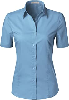 H2H Women Casual Slim Fit Button Down Dress Shirts Short Sleeve Solid Designed