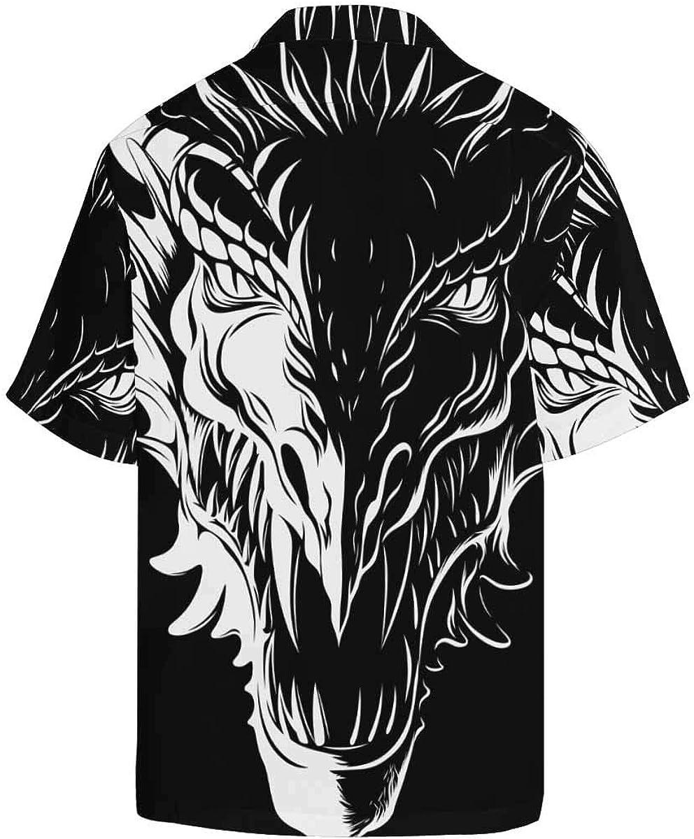 InterestPrint Men's Casual Button Down Short Sleeve Black&White Dragon Head Hawaiian Shirt (S-5XL)