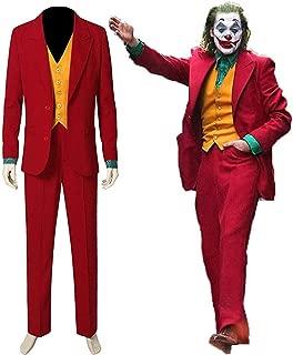 Mens Evil Clown Joaquin Phoenix Red Jokey Costume Slim Fit 3 Piece Suit