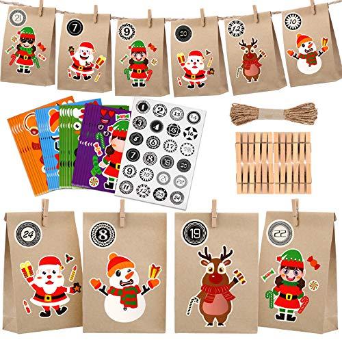 KATELUO 24 Pcs Calendario de Adviento de Navidad,24 Pcs Bolsas de Regalo Navidad,Bolsas de Papel de Bricolaje, adecuadas para diseño Personalizado y Hacer su Propia Bolsa de Calendario. (Marrón)