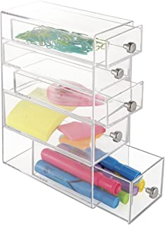 mDesign boite de rangement a tiroir – organisateur de bureau en plastique avec 5 tiroirs – trieur de bureau pour stylos, c...