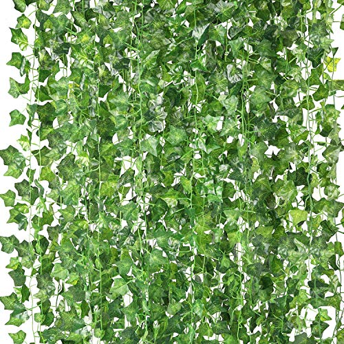 COCOBOO 18 Pack Fake Vines for Room Decor Artificial Ivy Garland Leaves Fake Plants Greenery Garlands for Home Bedroom Garden Office Party Wedding Wall Decor, 126 Feet