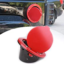 HOZAN Red Gas Cover Fuel Door Jeep Gas Cap Cover for Jeep Wrangler JK & JK Unlimited Sport Rubicon Sahara 2007-2017