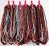 Mardi Gras Beads Black Red Silver Disco 6 dozen Throw 33 in Necklaces 72 Strands