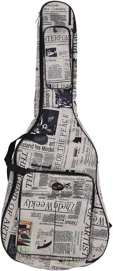 Btuty Bolsa de guitarra de 41 pulgadas, 600D resistente al agua tela Oxford estilo periódico doble costura correas acolchadas bolsa de transporte para guitarra acústica clásica de 41 pulgadas