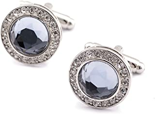 Fashion Round Zircon with Multiple Crystal Luxury Personality 2 PCS Mens Shirts Cufflinks