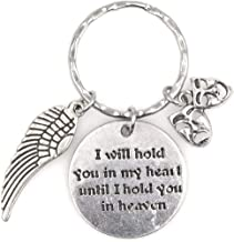 I Will Hold You in My Heart Until I Hold You in Heaven Angel Wing Comedy Tragedy Keychain 114U