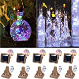 Solar Bottle Lights, 10 Pack 20 LED Waterproof Solar Wine Bottle Lights Solar Fairy Bottle Lights for Indoor and Outdoor Decoration (Cold white, color)