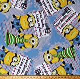 Fleece Minions Dear Santa I Can Explain Christmas Holiday Letters Despicable Me Characters on Blue Fleece Fabric Print by The Yard (A341.13)
