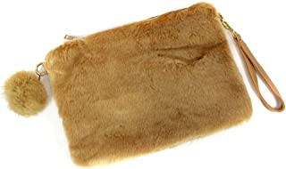 Women's Faux Fur Fluffy Square Clutch Shoulder Bag with PomPom