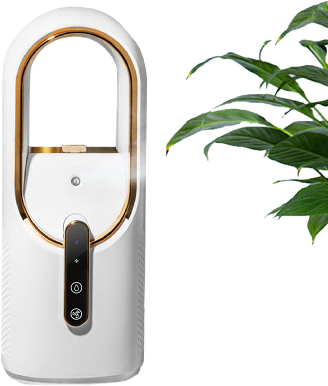 RENSHUYU Ventilador sin aspas de Escritorio, Carga USB con Spray humidificador, purificador de Aire de diseño silencioso de 3 velocidades, Ventilador sin Hojas, para Oficina en casa, 11,96 Pulgadas
