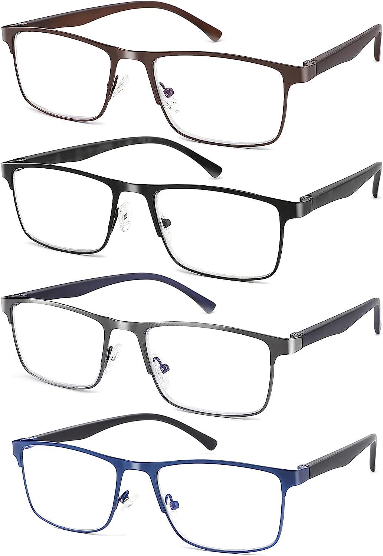 4-Pack Max 81% OFF Blue Light Blocking Save money Reading Men Metal for Glasses Stylish