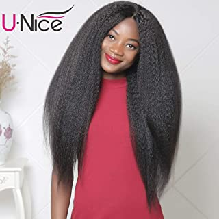 Unice 13x6 Kinky Straight Lace Front Human Hair Wigs for Women, Brazilian Remy Hair Italian Yaki Wig with baby Hair Free Part 150% Density Natural Color (14'' Front lace wig)