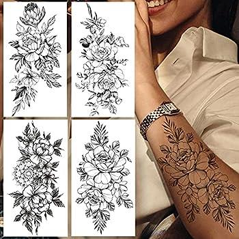 Large Peony Lily Flower Temporary Tattoo For Women Black Mandala Fake Tattoos Arm Hands Creative Sweet Pea Leaf Daisy Tattoo 20X10Cm 8Pcs