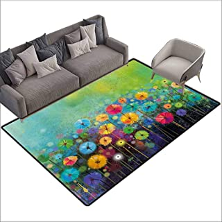 Long Kitchen Mat Bath Carpet Watercolor Flower Home Decor,Dandelions Featured Garden Made with Brushstrokes Toned Landscape,Multi 48″x 72″,Truck mats