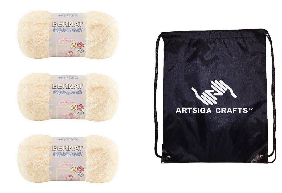 Bernat Pipsqueak Yarn (3-Pack) Vanilla 162059-59008 Bundle with 1 Artsiga Crafts Project Bag