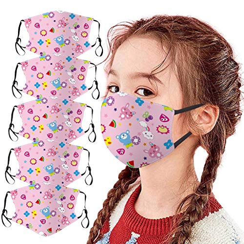Alangbudu 5PCS Children Kids Washable Outdoor Cotton 3-Layer Màsc Halloween Funny Cute Face Shields for School Supplies (PK)