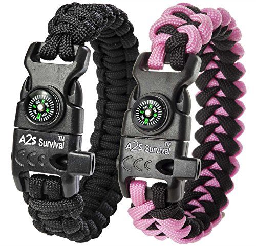A2S Survival Paracord Bracelet K2-Peak – Survival Gear Kit with Embedded Compass, Fire Starter, Emergency Knife & Whistle – Pack of 2 - Quick Release Slim Buckle (Black/Pink for Kids)