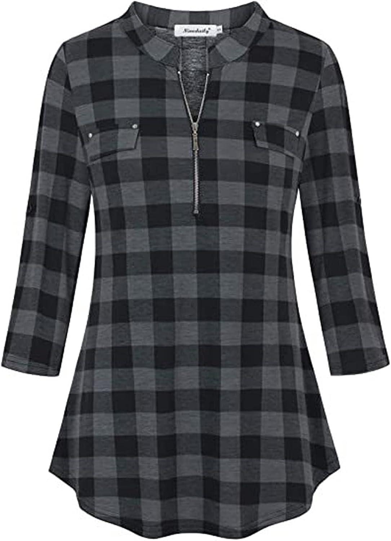 Womens Tunic Tops Casual Half Sleeve Lattice Printed Zipper Stand Collar Baggy Flowy Blouse Tee Shirt Tops
