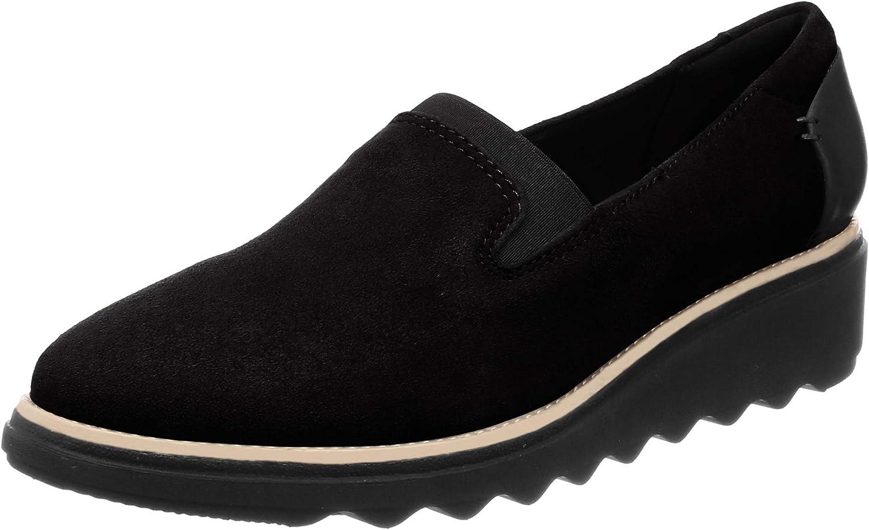 Clarks Suede Wedge Heel Smoking Slipper Loafer shoes