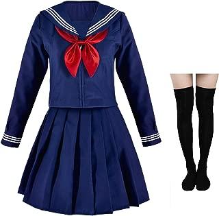 Japanese Sailor School Uniform Costume Anime Cosplay Navy Dress Lolita Suit with Socks Set