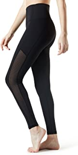 Tesla Mesh Long Yoga Pants High Tummy Control Waist w Hidden Pocket FYP56-BLK