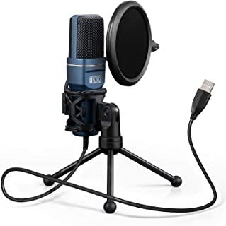 USB Gaming Microphone, TONOR Computer Condenser PC Mic with Tripod Stand & Pop Filter for Streaming, Podcasting, Vocal Recording, Compatible with iMac PC Laptop Desktop Windows Computer, TC-777