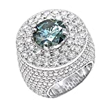 14K Gold Unique White Blue Diamond Mens Ring Statement Jewelry 11ctw (White, Size 10)