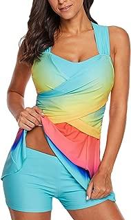 Eternatastic Women Printed Swimwear Zip Front Racerback Tankini Swimsuits with Skirt Blue