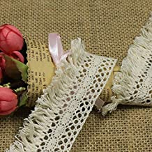Susuntas 5 Yards 4cm Wide Cotton Lace Trim DIY Craft Delicate Ribbon Scallop Edge for Scrapbooking Gift Package Wrapping with Tassel,Crocheted Lace Trim DIY Craft Ribbon(Beige)