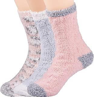Womens Comfy&Soft Plush Slipper Socks, Fluffy Crew Socks Casual Home Sleeping Sock