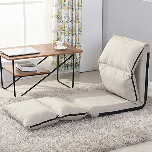Z&HX Sofa Faul Sofa Stuhl Verstellbare Klappwaschbar Faule Sofa Sechs-Position Bodenliege Erkerfenster Kissen Sofakissen,White