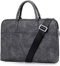 "Fashion PU Leather Women Men Notebook Bag Laptop Bag Briefcase Crossbody Messenger Bags Satchel Purse Fit 14"" 15.6"" Pink Black Red (14 inch, Black)"