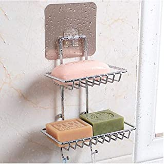 DYRROTH Wall Mounting Double Layer Soap Dish Holder & Dispenser, Self Adhesive Stainless Steel Waterproof Kitchen Bathroom...