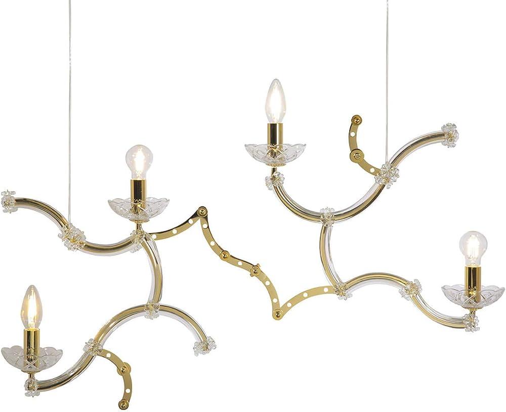 Karman ghebo, lampada a sospensione con 4 sorgenti luminose,in metallo  dorato lucido SE1462O INT